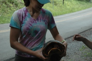 Devin holding the turtle