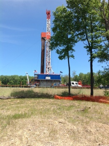 Large drill rig in Elk State Forest where 12 vertical wells were being installed for extraction of natural gas.